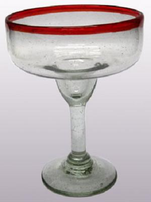 MEXICAN GLASSWARE / 'Ruby Red Rim' large margarita glasses (set of 6)